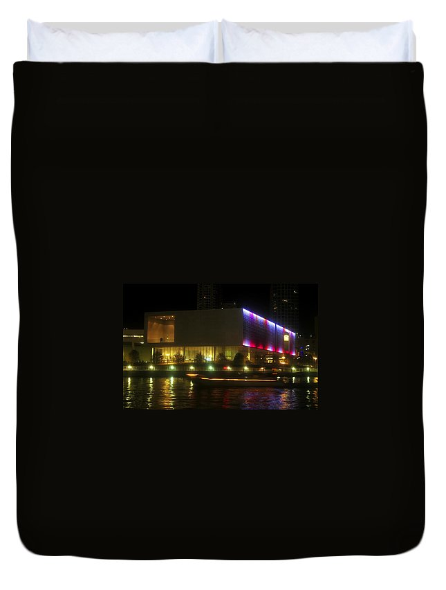 Tampa Bay Art Center Duvet Cover featuring the photograph Passing Boat by David Lee Thompson