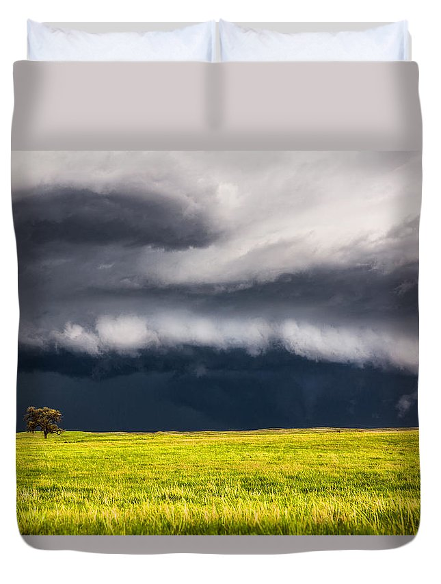 Storm Duvet Cover featuring the photograph Passing By - Storm Passes By Lone Tree In Western Nebraska by Sean Ramsey