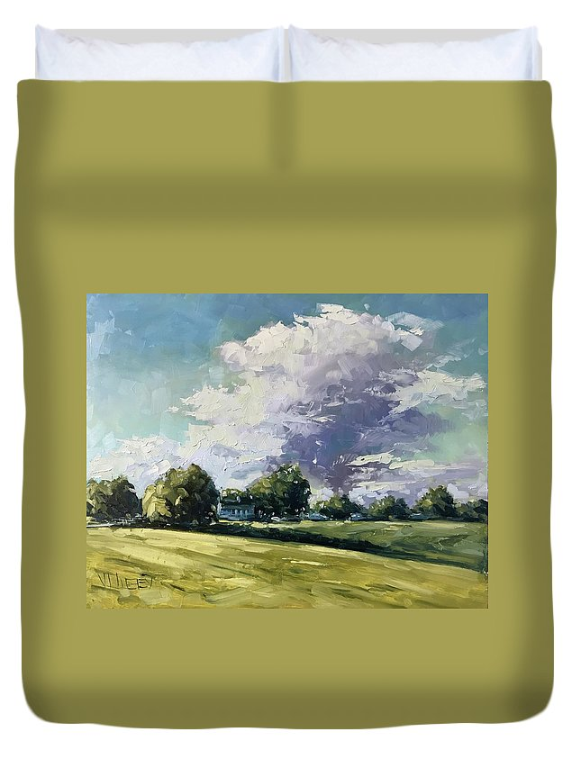 Oil Duvet Cover featuring the painting Passing By by Vlad Duchev