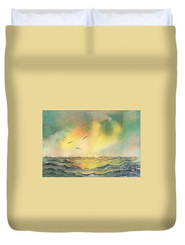 Stormy Sea Duvet Cover featuring the painting Passing Storm by Paul Temple