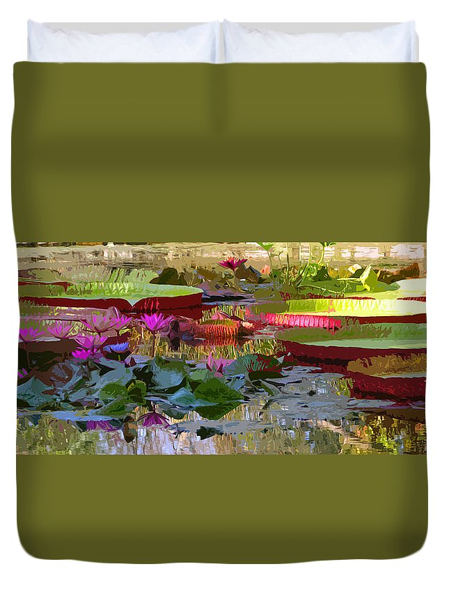 Water Lilies Duvet Cover featuring the photograph Passion for Beauty by John Lautermilch
