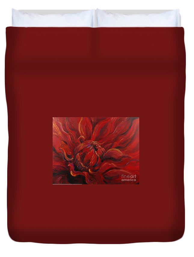 Red Duvet Cover featuring the painting Passion II by Nadine Rippelmeyer