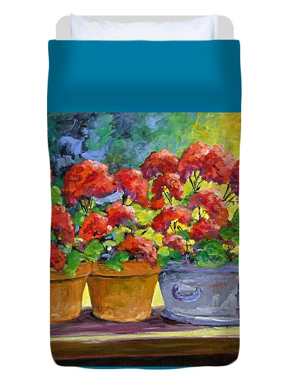 Still Life; Geraniums; Flowers; Terra Cotta; Red; Blue; Yellow; Green; Pranke; Duvet Cover featuring the painting Passion In Red by Richard T Pranke