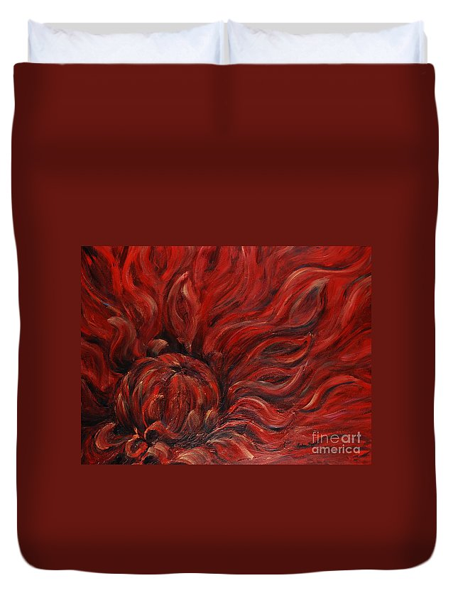Flower Duvet Cover featuring the painting Passion IV by Nadine Rippelmeyer