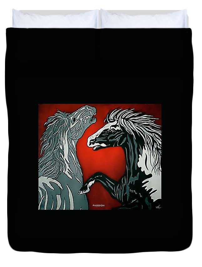 Horses Duvet Cover featuring the painting Passion by Larry Rice