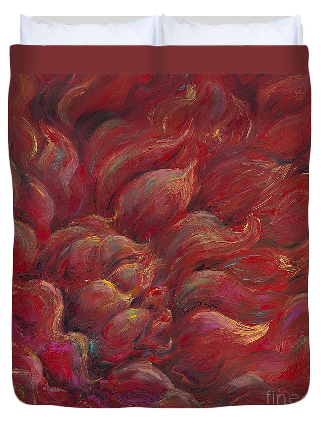 Red Duvet Cover featuring the painting Passion V by Nadine Rippelmeyer