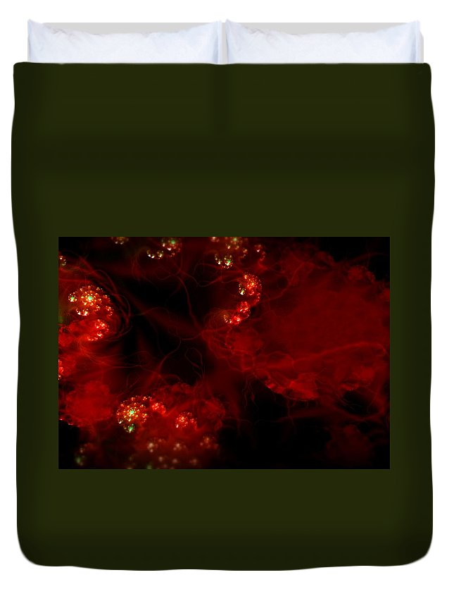Passion Red Explosion Expression Blood Heart Duvet Cover featuring the digital art Passional by Veronica Jackson