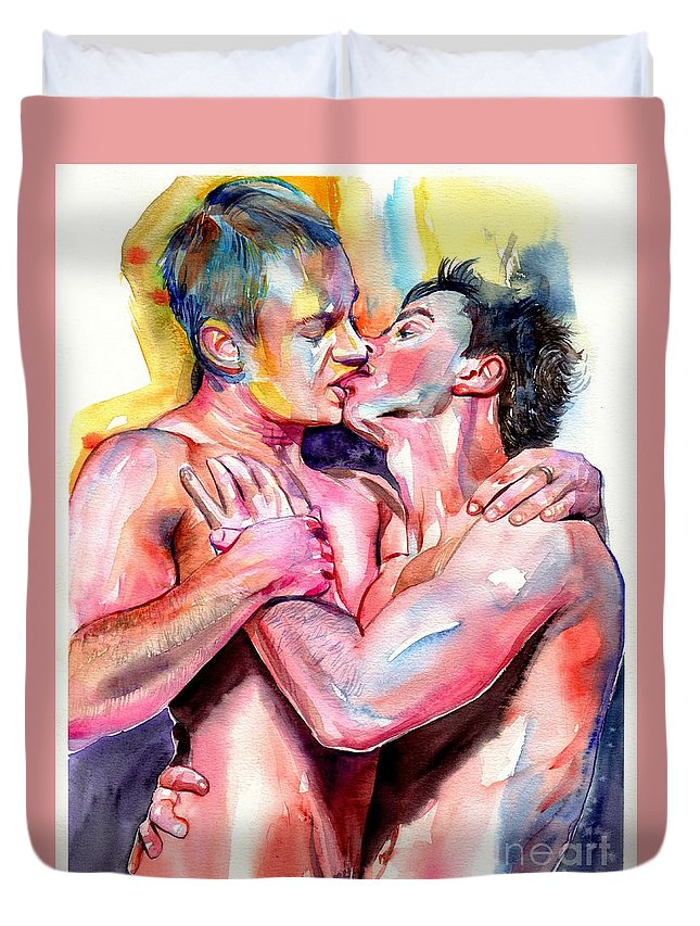 Love Duvet Cover featuring the painting Passionate Kiss Watercolor by Suzann Sines