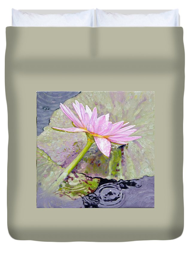 Water Lily Duvet Cover featuring the painting Pastel Beauty by John Lautermilch