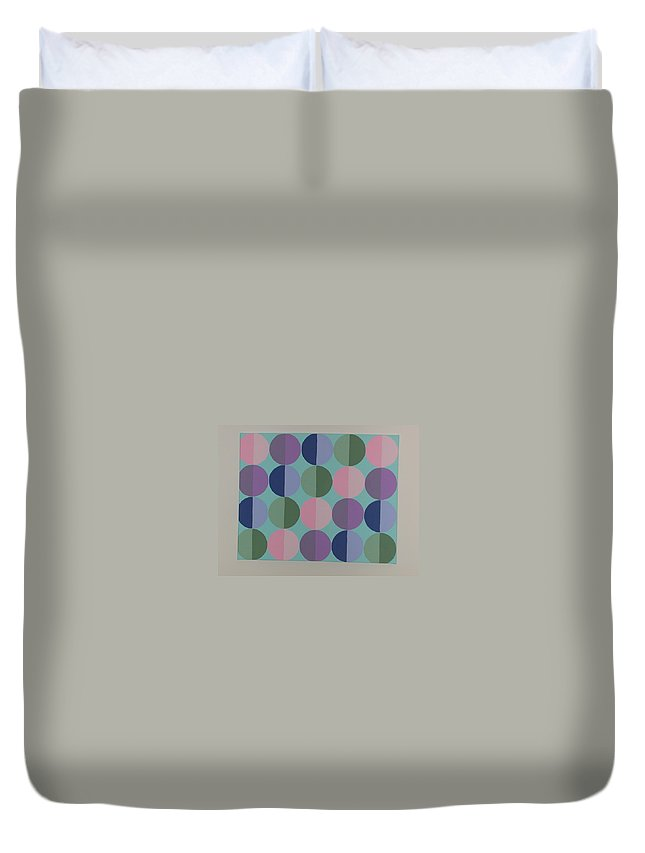 Blue Duvet Cover featuring the painting Pastel Cirles by Gay Dallek