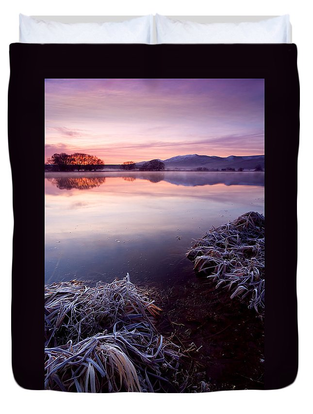 Lake Duvet Cover featuring the photograph Pastel Dawn by Mike Dawson