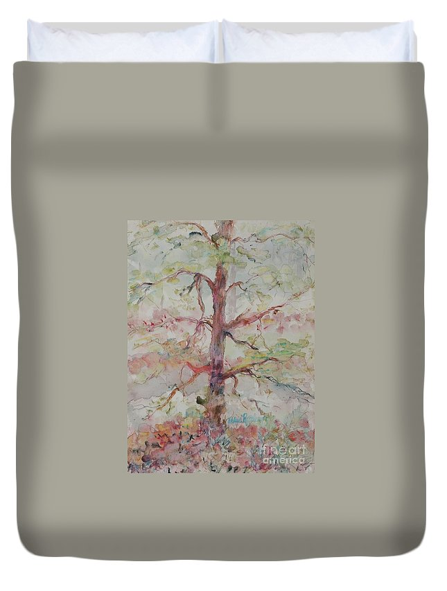 Forest Duvet Cover featuring the painting Pastel Forest by Nadine Rippelmeyer