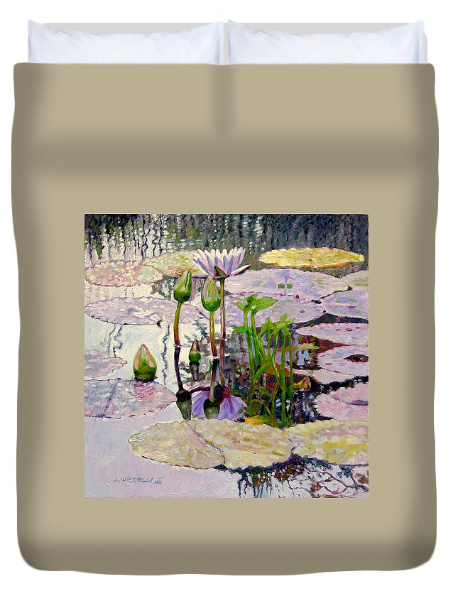 Water Lily Pond Duvet Cover featuring the painting Pastel Light by John Lautermilch