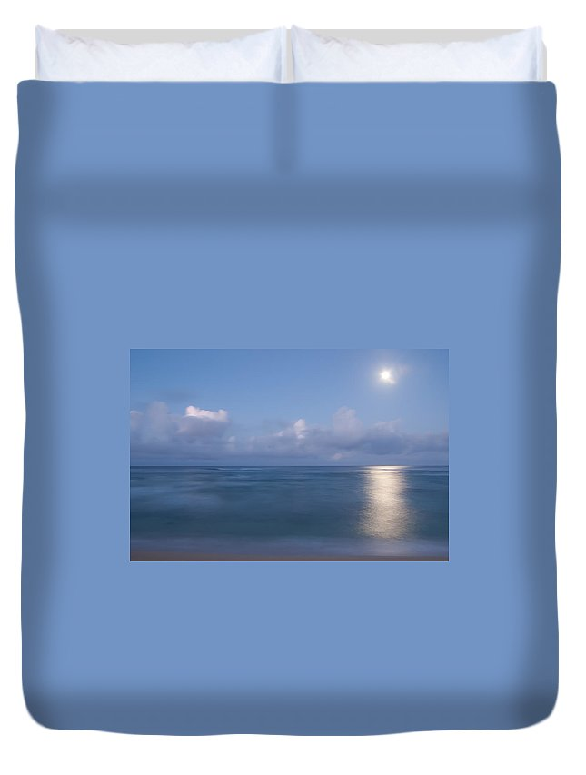 Ocean Duvet Cover featuring the photograph Pastel Moonset by Roger Mullenhour