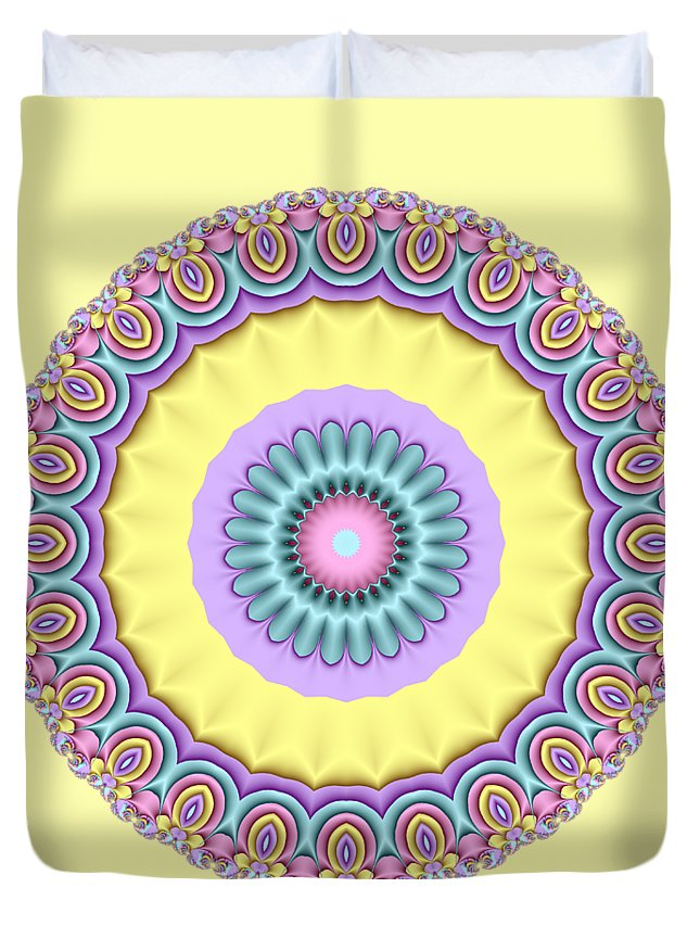 Pastel Duvet Cover featuring the digital art Pastel Peacock Fractal Flower by Ruth Moratz