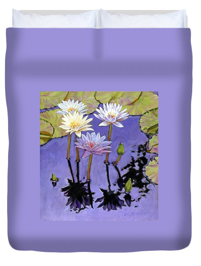 Water Lilies Duvet Cover featuring the painting Pastel Petals by John Lautermilch