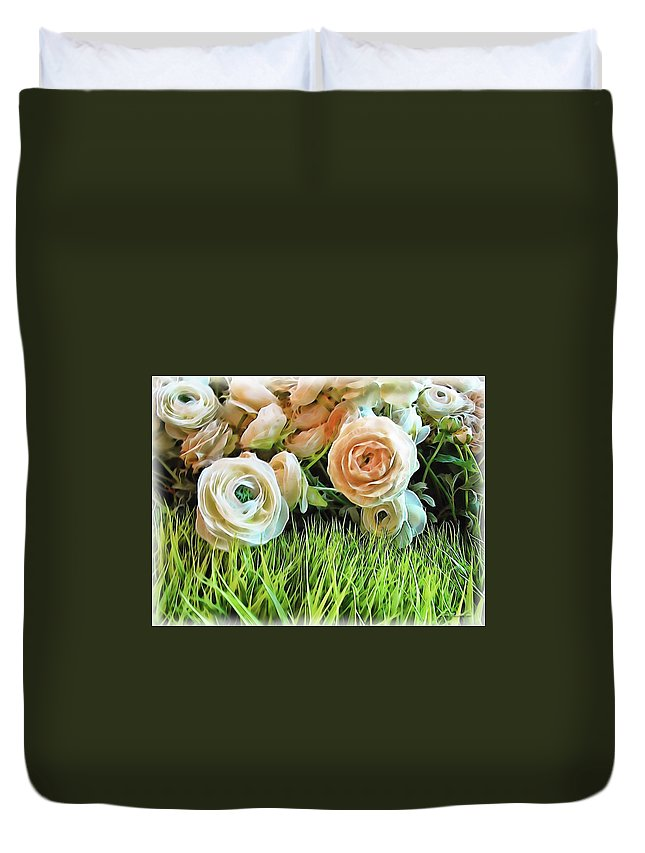 Rose Duvet Cover featuring the digital art Pastel Roses by Joan Minchak