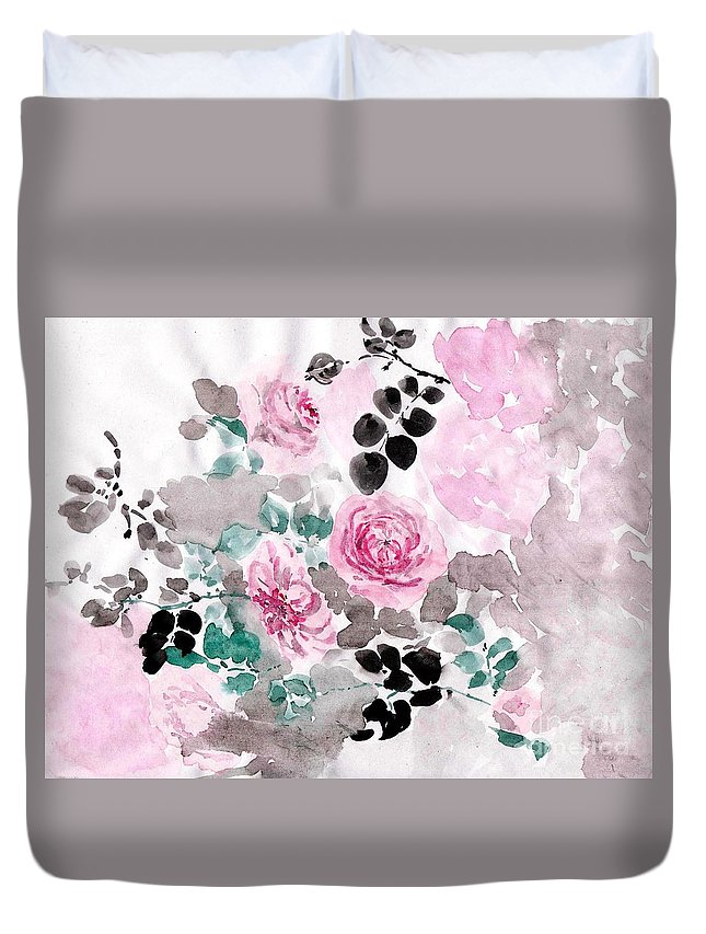 Pink Roses Duvet Cover featuring the painting Pastel Water-healing Roses -24 by Sweeping Girl