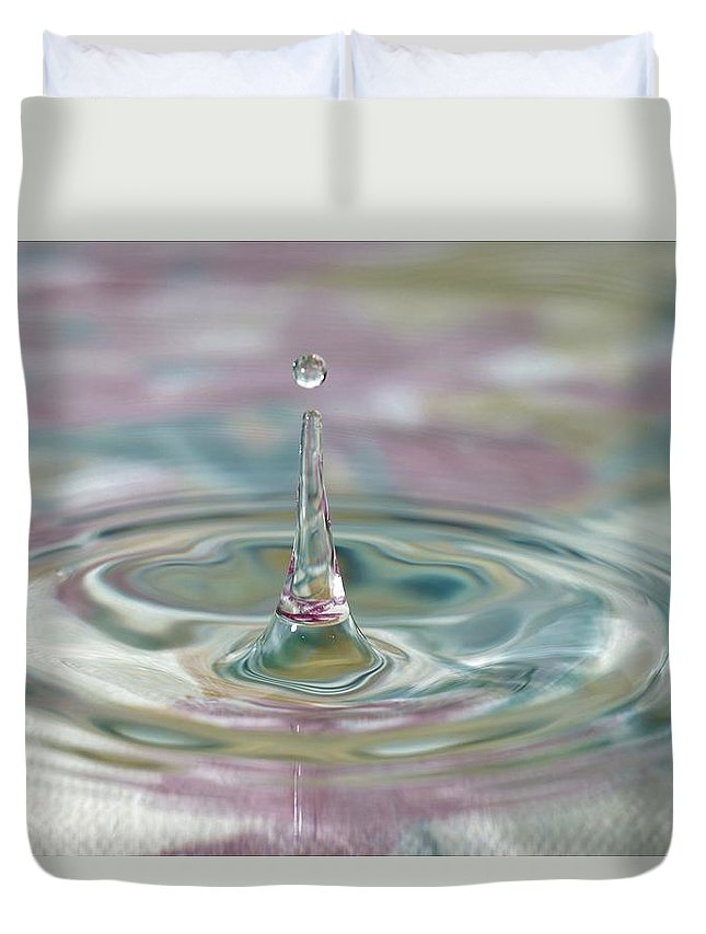 Water Drop Duvet Cover featuring the photograph Pastel Water Sculpture 2 by Kristina Jones