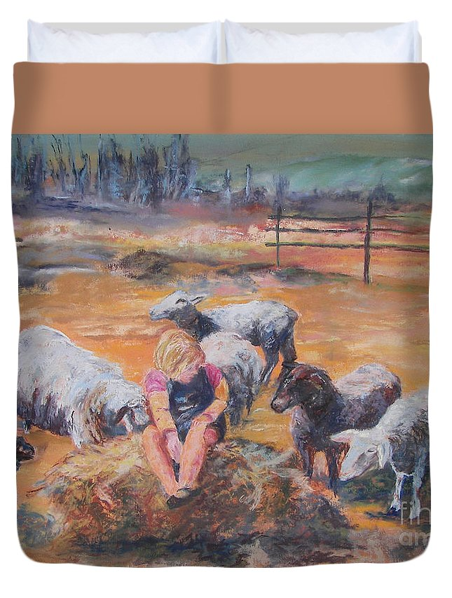 Farmstead Duvet Cover featuring the pastel Pasture Acquaintances by Alicia Drakiotes
