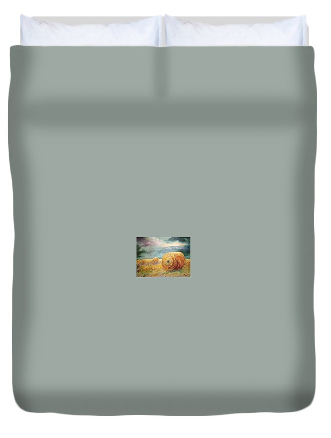Pasture Landscapes Duvet Cover featuring the painting Pasture Ornament by Ginger Concepcion