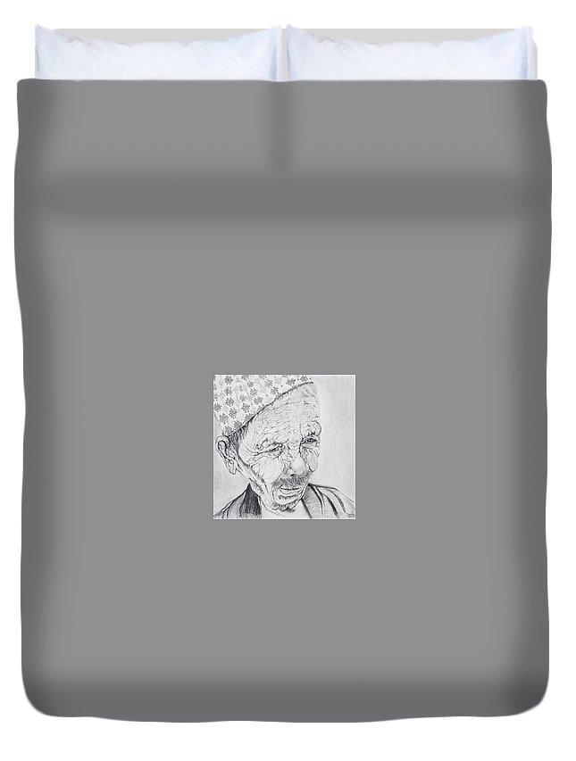Pencil Vine Patan Prajoo Prajooshrestha Paper Drawing Old Man Wrinkles Duvet Cover featuring the drawing Patan by Prajoo Shrestha