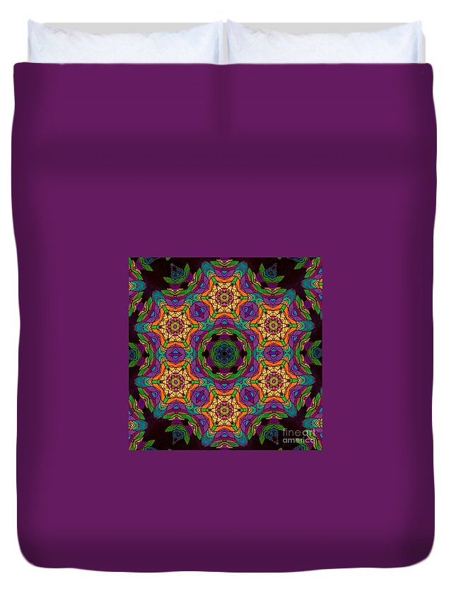 Original Tissue Paper On Black Canvas Digital Photograph By Breena Briggeman Fractal Continuous Pattern Kaleidoscope Pinwheel Round Yoga Mats Beach Towels Throw Pillows Shower Curtains Tote Bag Phone Case Cheerful Uplifting Bright Colorful Purple Pink Blue Yellow Green Black Orange Duvet Cover featuring the digital art Patch Work by Breena Briggeman