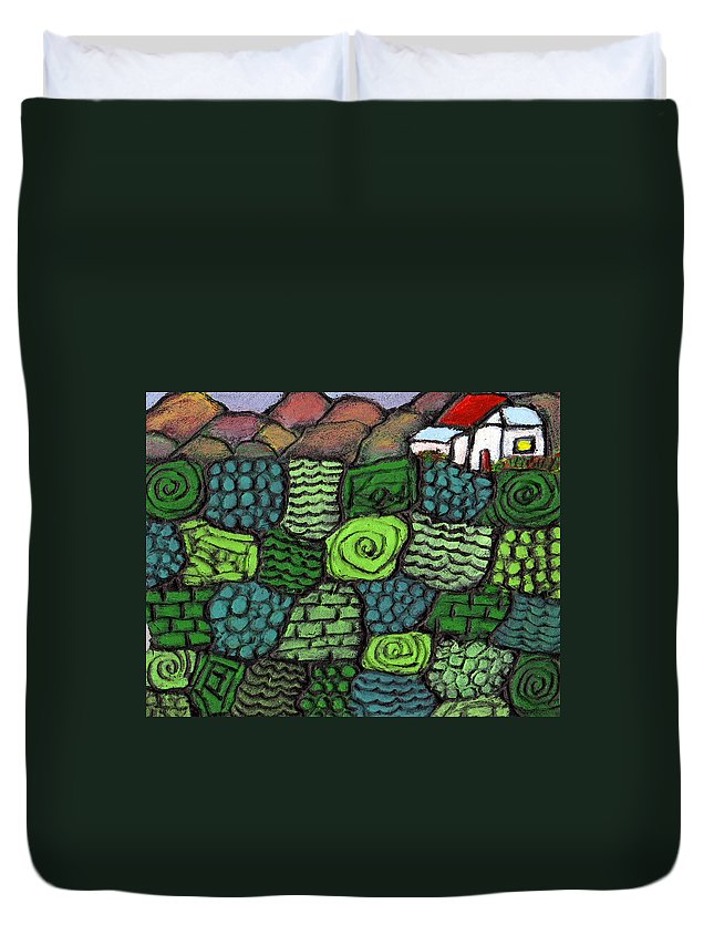Green Duvet Cover featuring the painting Patches Of Green by Wayne Potrafka