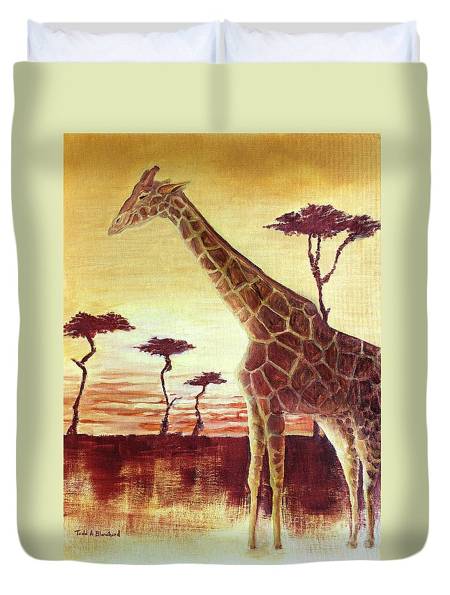Animal Duvet Cover featuring the painting Patches by Todd Blanchard
