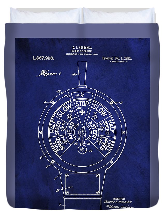 Marine Telegraph Patent Duvet Cover featuring the digital art Patent 1921 Marine Telegraph Patent - Royal Blue by Unique Reproductions