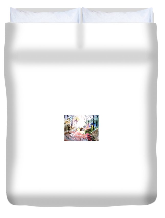 Nature Duvet Cover featuring the painting Path In Colors by Anil Nene
