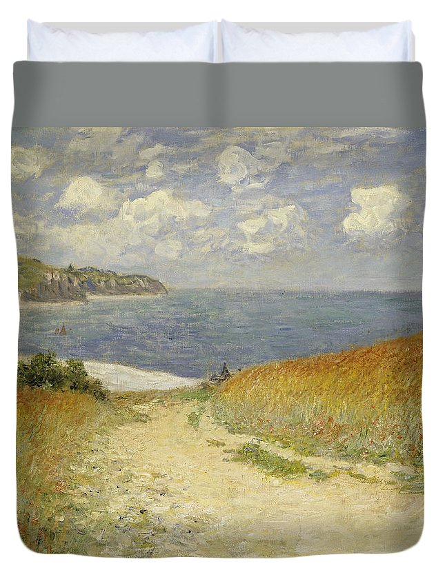 Path In The Wheat At Pourville Duvet Cover featuring the painting Path In The Wheat At Pourville by Claude Monet