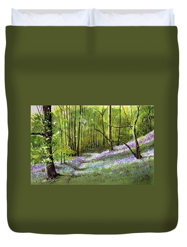 Bluebell Duvet Cover featuring the painting Path Through Bluebell Wood by Paul Dene Marlor
