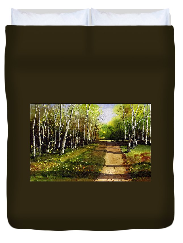 Woodland Duvet Cover featuring the painting Path Through Silver Birches by Paul Dene Marlor