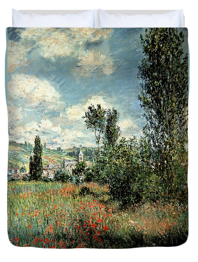 Path Duvet Cover featuring the painting Path through the Poppies by Claude Monet