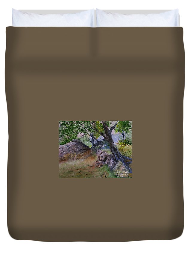 Landscape Duvet Cover featuring the painting Path To Nowhere by Stephen King