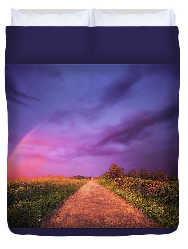 Dreamy Duvet Cover featuring the photograph path to Phantasiland by Mikel Martinez de Osaba