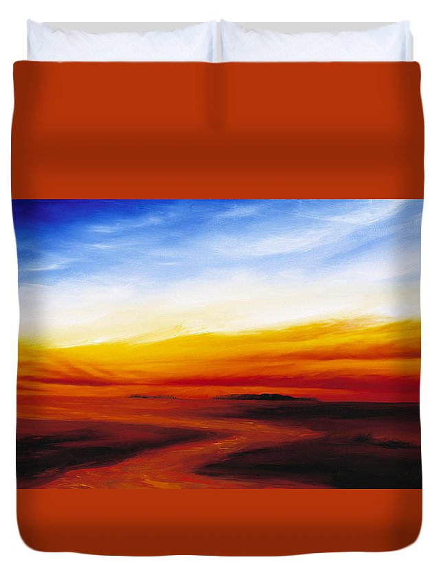 Sunrise Duvet Cover featuring the painting Path To Redemption by James Christopher Hill