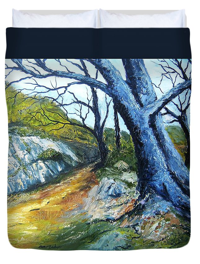 Landscape Duvet Cover featuring the painting Path To Rivendale by Tami Booher