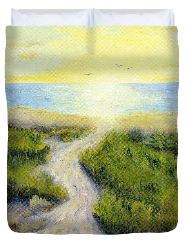 Beach Duvet Cover featuring the painting Path To Serenity by Deborah Butts