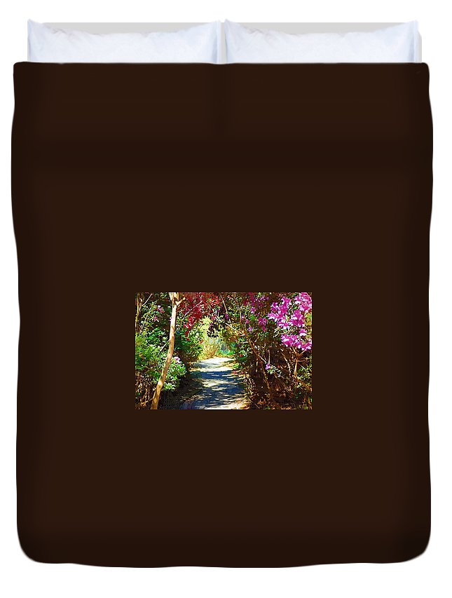 Landscape Duvet Cover featuring the digital art Path To The Gardens by Donna Bentley