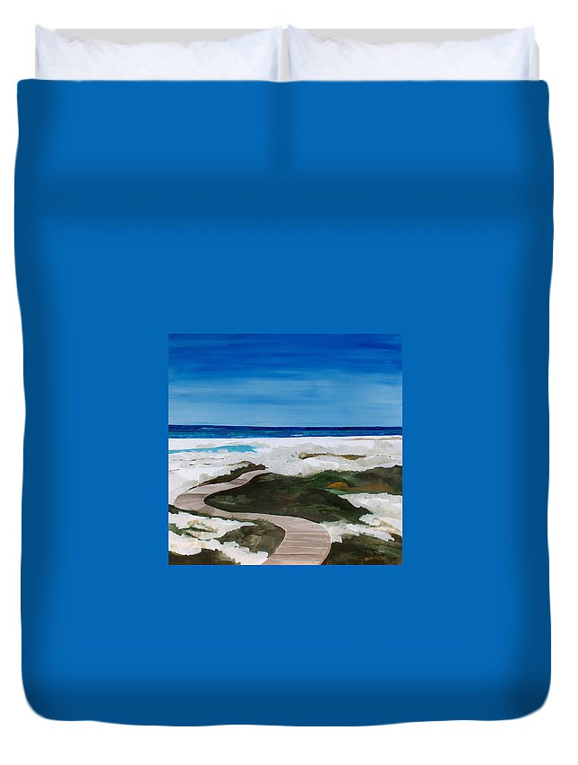 Beach Duvet Cover featuring the painting Path To The Sea by Racquel Morgan