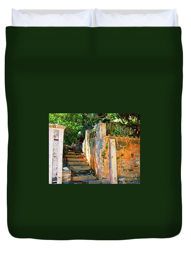 Steps Duvet Cover featuring the photograph Pathway by Debbi Granruth
