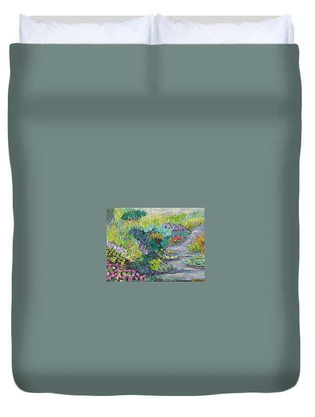Flowers Duvet Cover featuring the painting Pathway Of Flowers by Richard Nowak