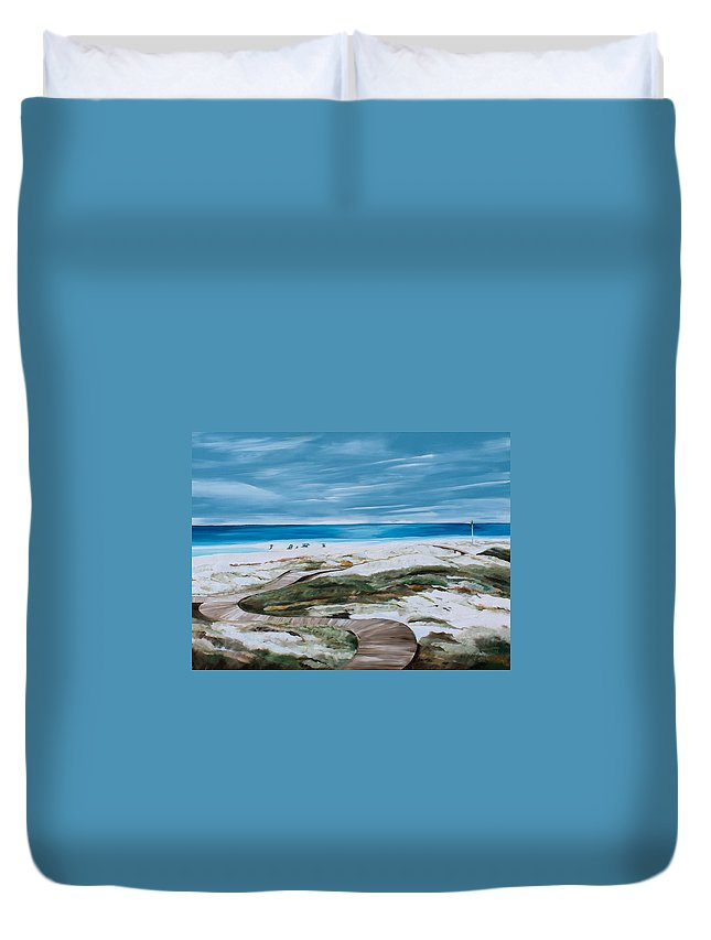 Beach Duvet Cover featuring the painting Pathway by Racquel Morgan