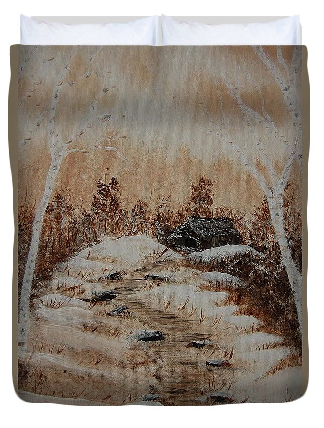 Acrylics Duvet Cover featuring the painting Pathway To Freedom by Laurie Kidd