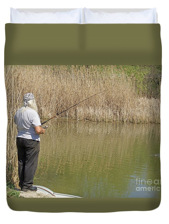 Fishing Duvet Cover featuring the photograph Patience Required by Ann Horn