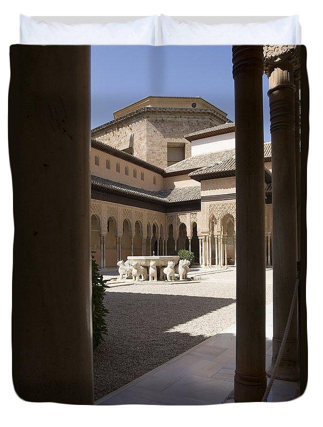 Patio Duvet Cover featuring the photograph Patio De Los Leones Nasrid Palaces Alhambra Granada by Mal Bray