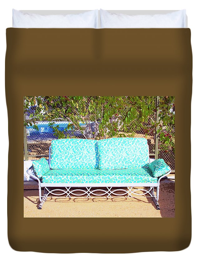Patio Furniture Duvet Cover featuring the photograph Patio Invitation Palm Springs by William Dey