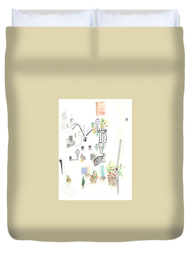 Grandmother Duvet Cover featuring the painting Patio by Lilia Streinger
